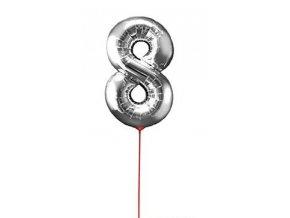 Fóliový balón čislo ,,8,, Strieborný na paličke 30cm