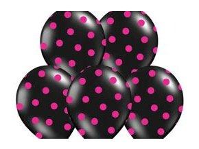 """Latexový balón 14"""" čierny s ružovými bodkami 6 ks v balení"""