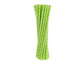 Slamky zelené s bodkami 24ks v balení