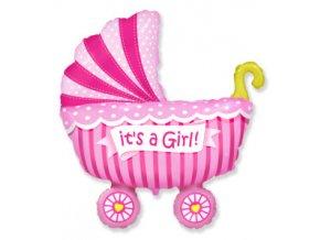 """Fóliový balón Kočiar ružový 24"""""""