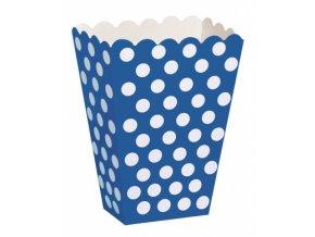 Krabička modrá s bodkami 8ks v balení