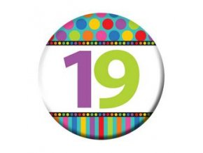 """Odznak farebný """"19"""" Happy Birthday"""