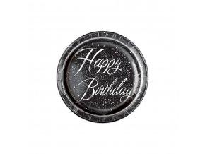 Tanier Black Happy Birthday 8ks v balení, 21,9cm