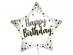 eng pl White Gold Happy Birthday Star Foil Balloon 46 cm 1 pc 53007 1