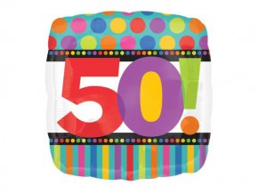 "Fóliový balón ""50"" Birthday Dots&Stripes 45cm"