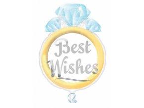 Fóliový balón Prsteň Best Wishes 40x53cm