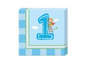 Servitky 1st Birthday modré 20ks v balení, 33x33cm