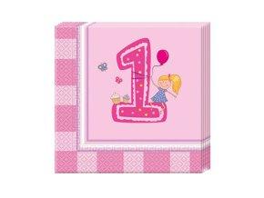 Servitky 1St Birthday ružové 20ks v balení, 33x33cm