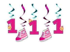 Špirály 1st Birthday ružové 5ks v balení