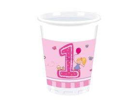 Pohár 1st Birthday ružový 8ks v balení, 200ml
