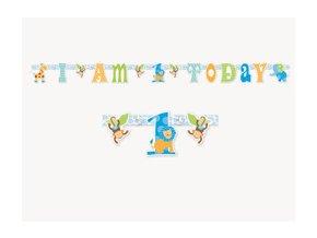 Banner 1st Birthday Safari modrý 1,57m