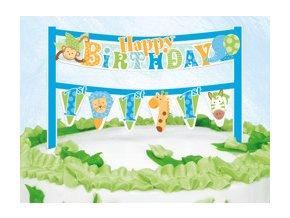 Dekorácia na tortu 1st Birthday Safari modré 16,5cm