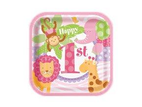 Tanier 1st Birthday Safari ružový 10ks v balení, 17,4cm