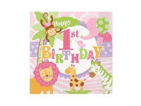 Servitky 1st Birthday Safari ružové 20ks v balení, 33x33cm