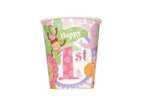 Pohár 1st Birthday Safari ružový 8ks v balení, 270ml