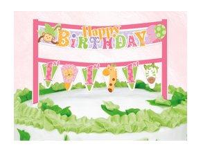 Dekorácia na tortu 1st Birthday Safari ružové 16,5cm