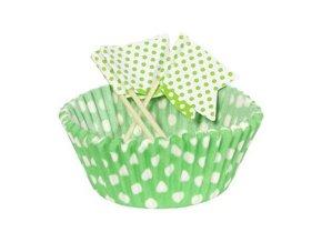 Košíčky+vlajky na muffinky zelené s bodkami