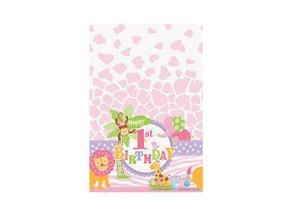 Obrus 1st Birthday Safari ružový 137x213cm