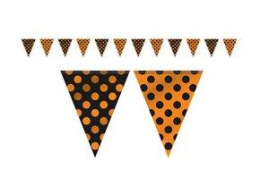 Vlajková girlanda DOTS čierno oranžová