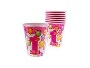Pohár 1st Birthday ružový 8ks v balení, 270ml