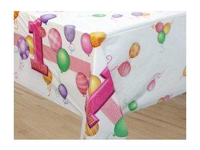 Obrus 1st Birthday party ružový 137x213cm