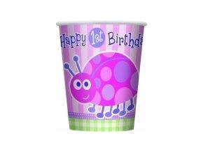 Pohár 1st Birthday party Lienka 8ks v balení, 270ml
