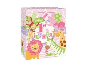 Taštička 1st Birthday Safari ružová 18x23cm