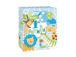 Taštička 1st Birthday Safari modrá 18x23cm