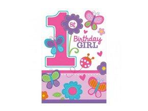 Pozvánky 1st Birthday party ružové 8ks v balení