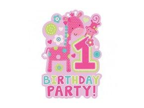 Pozvánky 1st Birthday ružové 8ks v balení
