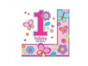 Servitky 1st Birthday party ružové 16ks v balení, 32,7x32,7cm