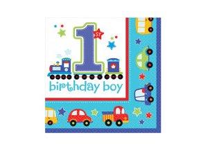 Servitky 1st Birthday party modré 16ks v balení, 32,7x32,7cm