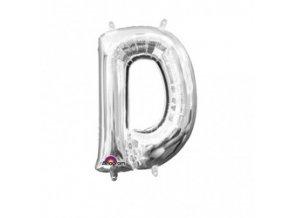 Fóliový balón písmeno ,,D,, strieborný 22x33cm