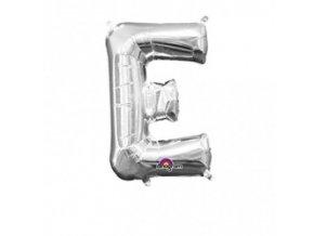 Fóliový balón písmeno ,,E,, strieborný 20x33cm