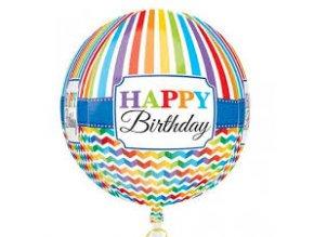 Fóliový balón Happy Birthday guľatý