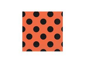 Servítky oranžové s čiernymi bodkami 33x33cm 16ks v balení