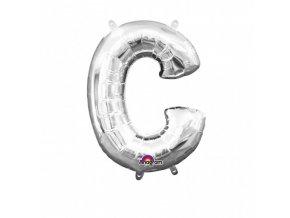 Fóliový balón písmeno ,,C,, strieborný 22x33cm