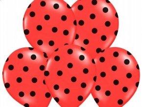 """Latexový balón 14"""" červený s čiernymi bodkami 1ks v balení"""