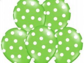 "Latexový balón 14"" BODKA zelený s bielymi bodkami 6ks v balení"