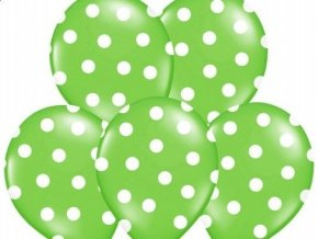 "Latexový balón 14"" Zelený s bielymi bodkami 1ks v balení"