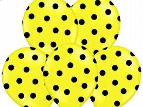 """Latexový balón 14"""" BODKA žltý s čiernymi bodkami 6ks v balení"""