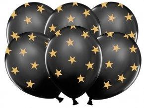 """Latexové balóny 14"""" čierne so zlatými hviezdami 6ks v balení"""