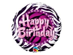 Fóliový balón Happy Birthday pink zebra 46cm