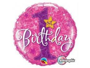 """Fóliový balón s číslom """"1"""" Happy Birthday pink"""