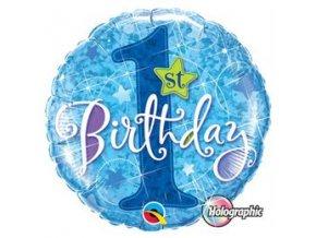 "Fóliový balón ""1"" Happy Birthday blue"