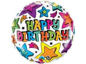 Fóliový balón hviezdičky Happy Birthday 46cm