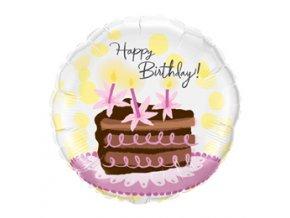 Fóliový balón Happy Birthday tortička 45,7cm