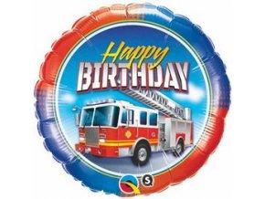 Fóliový balón Happy Birthday Požiarnik party