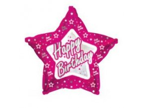 Fóliový balón Happy Birthday STAR pink