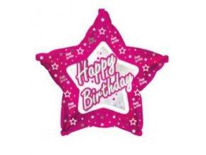 Fóliový balón Happy Birthday STAR pink